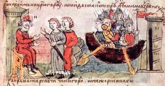 Аскольд и Дир просят Рюрика отпустить их в поход на Царьград. Прибытие в Киев. Миниатюра. Радзивиловская летопись