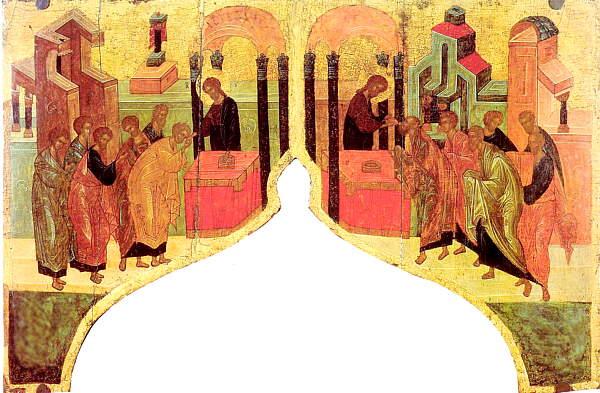 Причащение апостолов, икона 1422-1428 гг. Надвратная сень Благовещенской церкви села Благовещенского близ Сергиева Посада. Икона школы Андрея Рублева