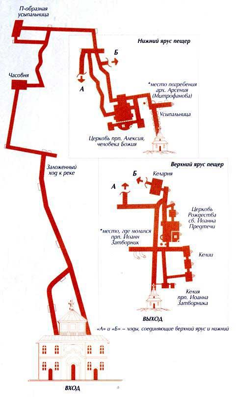 Карта пещер Святогорской Лавры