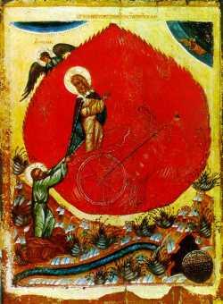 Огненное восхождение пророка Илии.  Икона XVII в., Ярославль.