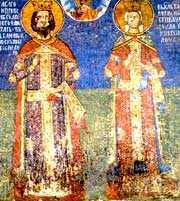 Свв. Лазарь и Милица. Фреска монастыря Любостиня.