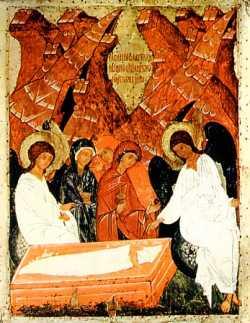 Жены-мироносицы у Гроба Господня.  Икона XV в., Русский музей.