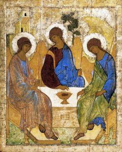 Троица, А. Рублёв, 1425 - 1427. Государственная Третьяковская галерея