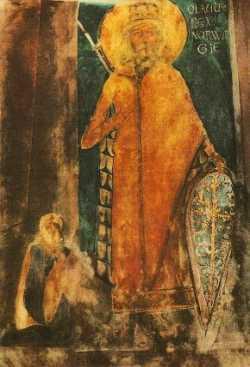 Св. Олаф Норвежский. Изображение на столпе в Вифлеемском Рождественском храме, 12 в.