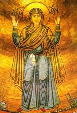 Мозаичная икона Божьей Матери «Нерушимая стена» (Софийский собор, XII век)