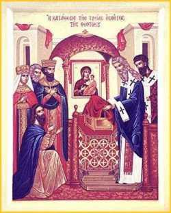 Положение честной ризы Пресвятой Богородицы. Греческая икона