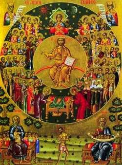 Второе пришествие, образ всех святых.  Греческая икона кон. XX-нач. XXI века.