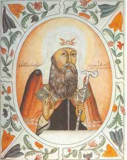 Свт. Иов Московский.  Миниатюра Царского титулярника, 1672 г.