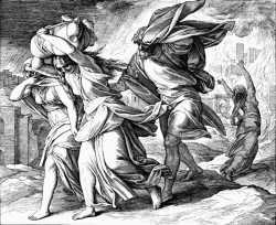 Бегство Лота из Содома. Юлиус Шнорр фон Карольсфельд. Иллюстрации к Библии