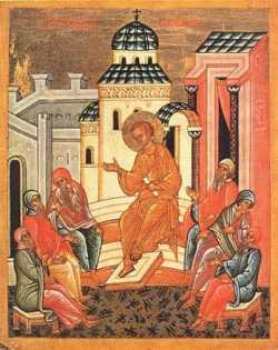 Преполовение (Беседа Христа с книжниками).  Икона, кон. XV в., Новгород