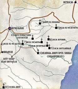 Карта древних византийский монастырей вокруг Лавры преп. Саввы Освященного