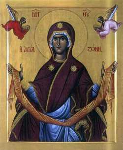 Честный Пояс Пресвятой Богородицы. Греческая икона