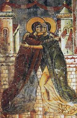 Сретение Пресвятой Богородицы и Приснодевы Марии и праведной Елисаветы. Фреска (1191 г.) в храме Св. Георгия, Курбиново, Македония