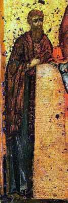 Прп. Феодосий Печерский. Фрагмент Свенской (Печерской) иконы Божией Матери (Киев, ок. 1288 г.). Москва, Государственная Третьяковская галерея