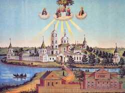Варницкий Троицкий Сергиев монастырь. Литография. Нач. XX в. (ГИМ)