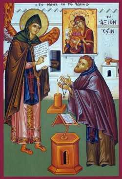 Архангел Гавриил учит инока песнопению {amp}quot;Достойно есть{amp}quot;. Икона XX-XXI в. Греция (?)