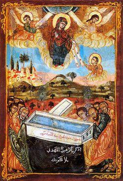 Вознесение Божией Матери (передающей Свой пояс ап. Фоме). Сирийская икона